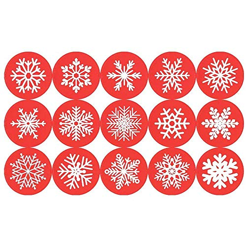 450 Pieces 1.5 Inch Round Circle Red Snowflakes Label Christmas Stickers Candy Cookie Bag Envelope Bag Seals Decorations Party Supplies by Baryuefull