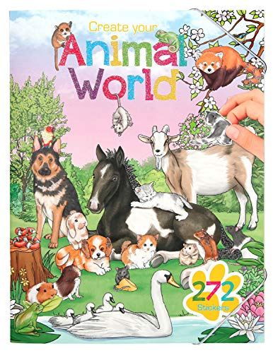 Depesche 10471 Malbuch Create Your Animal World mit Stickern, ca. 30,5 x 25 x 0,5 cm, bunt