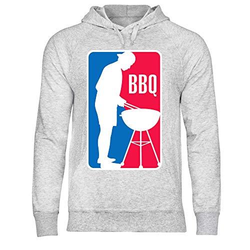 wowshirt Herren Hoodie BBQ League Liga Grillen Barbecue Grill Griller Grillmeister, Größe:M, Farbe:Heather Grey