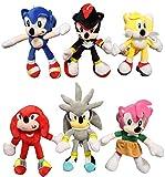 Juguetes Sonic 6 unids/lote Sonic juguetes de peluche muñeca negro azul sombra Sonic suave Peluche juguete niños regalos de Navidad envío gratis