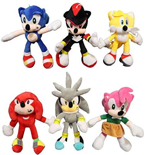 XINQIANG Sonic The Hedgehog 6pcs/lotSonic peluche juguete Amy rosa sónico-sombra-plata el erizo colas nudillos la echidna suave peluche animales muñeca regalos para niños