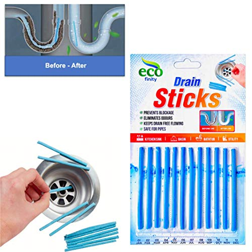 Zotti 12pc Drain Sticks – Enzyme Drain Cleaner for Sink, Basin, Bathtub – Premium Enzymatic Cleaner – Prevents Blockages and Bad Odour – Ideal for Grease, Fat, Food Residue