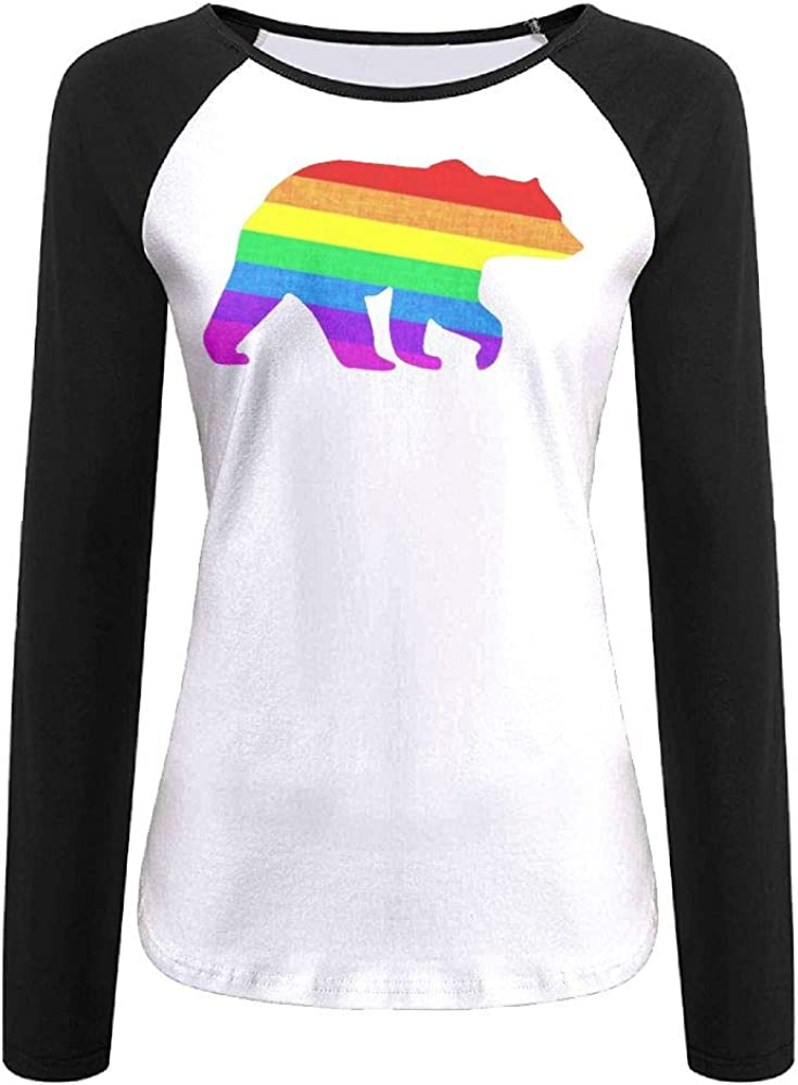 Uw65T/& Womens Long-Sleeved Crew Neck T-Shirt Comfortable Gay Bear 100/% Cotton Tunic Tops for Ladies