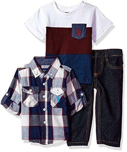 U.S. Polo Assn. Baby Boys' Sport Shirt, Creeper Pant Set, 0698-Multi Plaid, 3-6 Months