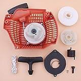 Tiempo Beixi Retroceso rebobinado Tire Arranque Compatible con Husqvarna 435 440 435E 440E Polea Hub Primavera Mango de Agarre de la Cuerda del Kit de la Motosierra 544287002