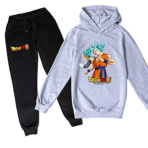 ZKDT Sudadera con capucha unisex de Dragon Ball Goku con estampado de Goku y sudadera de manga larga y pantalón de chándal 3-14 diseño 8 120 cm