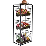 Home Intuition 3-Tier Removable Wire Baskets Stand and Shelf Fruit Vegetable Produce Metal Hanging...