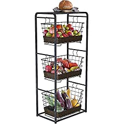 top 10 costco storage baskets Home Intuition 3-layer removable wire basket stand and shelf Fruit, vegetable products Metal …