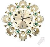 JJYGONG Reloj de Pared, Reloj de Pared de Metal Moderno Rhinestone Decoración de la Oficina de Oficina Silenciosa Reloj de Pared de Metal Silencioso Con fecha y termómetro