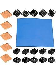 Youmile 21PCS aluminio térmico disipador Kit Enfriador de enfriamiento 8.8x8.8x5mm 14x14x7mm 14x10x7mm 15x15x0.5mm Para Raspberry Pi 4, 3 B + con cinta termoconductora