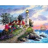 5D DIY diamante pintura paisaje faro junto al mar diamante bordado conjunto mosaico arte imagen decoración del hogar A10 40x50cm