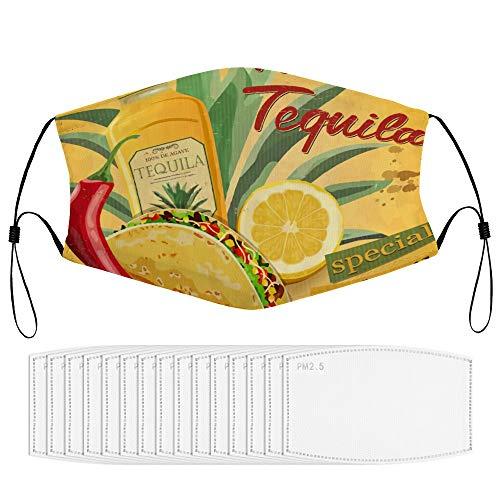 RugzT Tacos & Tequila Mexico Chili Pepper Salad Sandwich SpicyGesichtsdekoration mit Filterkern, Wiederverwendbare, staubdichte Gesichtsdekoration (mehrere Filterkerne), für Erwachsene neutral