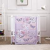 La Premura Purple Butterfly Baby Nursery Mini/Portable Crib Bedding Set for Girls, 3 Piece Crib Sets for Mini Crib, Purple