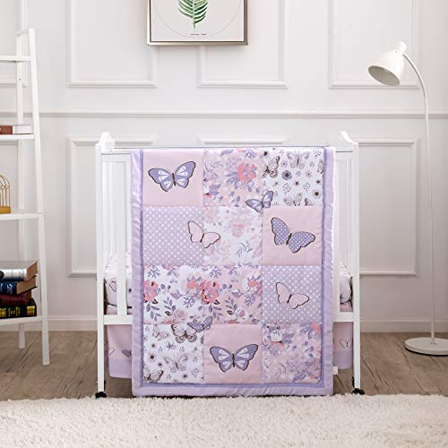 La Premura Purple Butterfly Baby Nursery Mini/Portable Crib...