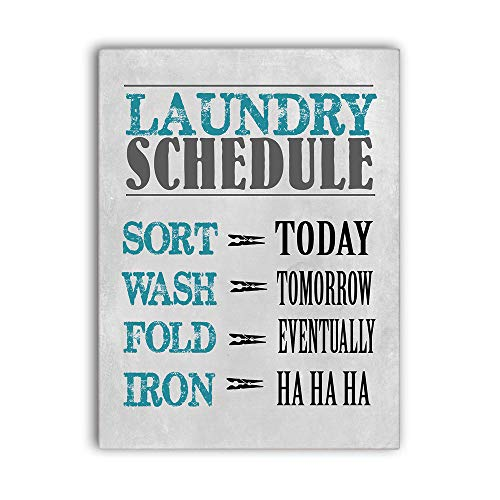 MODE HOME Laundry Schedule Wall Sign for Laundry Room,Decorative Laundry Room Wall Art Sign Cute Bathroom Wall Decor with Sayings