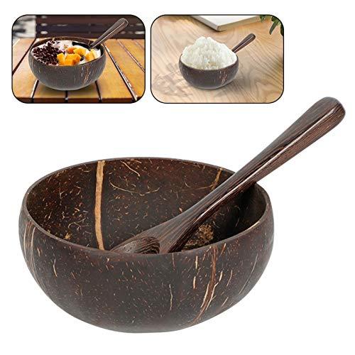 Amusingtao Paquete de 2 cuencos de coco con cucharas, cuencos de coco recuperados naturales, cuencos de coco para ensaladas de frutas, batidos, helados, cereales, desayuno ecológico