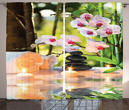Ambesonne Spa Curtains, Massage Theme Candles Orchids and Stones in Garden Japanese Oriental, Living Room Bedroom Window Drapes 2 Panel Set, 108' X 84', Green Fuchsia