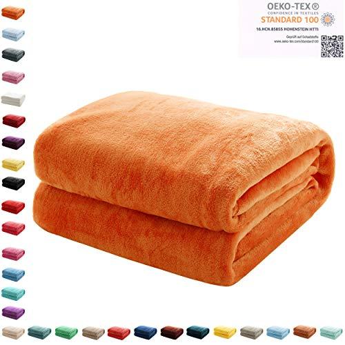 Mixibaby Kuscheldecke Flauschige extra weich & warm Wohndecke Flanell Fleecedecke, Falten beständig/Anti-verfärben als Sofadecke oder Bettüberwurf, Maße Decke Sarah:150 cm x 200 cm, Farbe:Orange