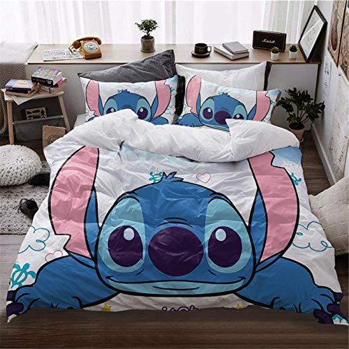 Itscominghome Lilo & Stitch - Juego de cama (3 piezas, funda nórdica para niño, 2 fundas de almohada con cremallera oculta (4,220 x 240 cm)