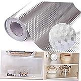 KEYkey Cocina Papel de Aluminio Etiquetas engomadas de Anti Grasa extraíble Auto Adhesivo Estufa Armarios encimeras Etiqueta para la decoración casera DIY del Papel Pintado de Plata