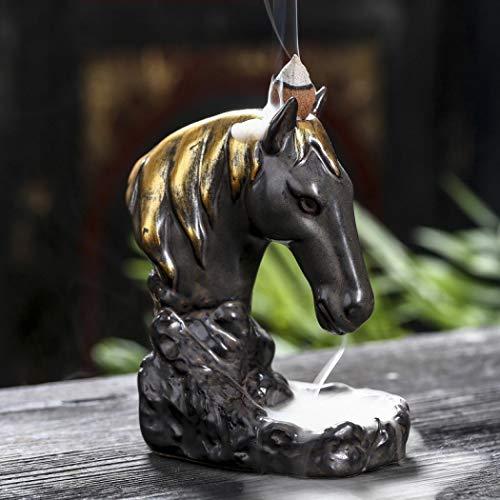 Pferdekopf Räucherstäbchen Halter mit 10PCs Rückfluss Räucherkegel, Asien Keramik Räucherstäbchenhalter Rückfluss Räuchergefäß