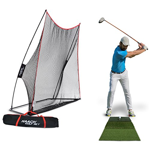 Rukket 3pc Golf Net Bundle, 10x7ft Haack Golf Hitting Net, Tri Turf Mat & Carry Bag, Practice Driving Indoor and Outdoor, Golfing at Home Swing Training Aids by SEC Coach Chris Haack