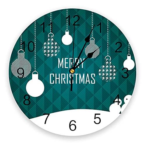 Reloj de Pared de PVC, decoración de Bolas de Linterna de Feliz Navidad, silenciosos, sin tictac, con Pilas, Relojes de Pared Redondos para Cocina, Sala de Estar, Oficina