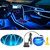 EL Wire Interior Car LED Strip Lights, LEDCARE USB Neon Glowing Strobing Electroluminescent Wire Lights with 6mm Sewing Edge, Ambient Lighting Kits for Car, Garden, Decorations (5M/16.5FT, Blue)