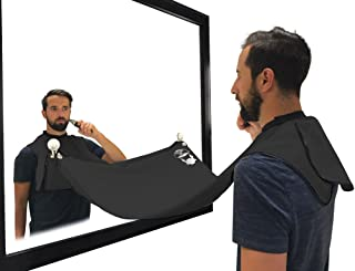Beard Hair Catcher, Beard Cape Apron for Shaving and Grooming with Suction Cups for Mirror, Black. By Captain Jax