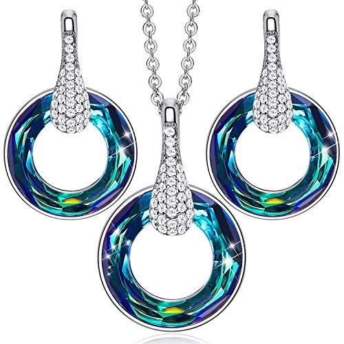 CDE - Juego de collar y pendientes con forma de corazón y alas de ángel adornados con cristales de Swarovski chapados en oro blanco de 18 quilates