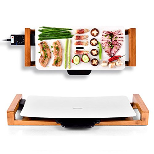 smokeless eléctrico Barbacoa/Grill 2100W Parrilla–Superficie de cocción de antiadherente desmontable con antiadherente...