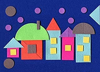 CubbyHole Geometric Flannel Board with Felt Figures - Flannelboard Story Sets with Geometric Shapes - The Evening Town…