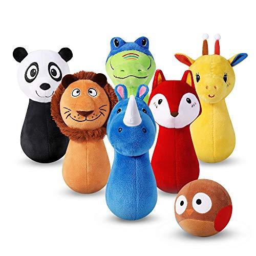 iPlay, iLearn Stuffed Animals Playset, Baby Plush Toys, Infant Owl Ball Rattle, Soft Fabric Giraffe, Lion, Rhino, Toddler Development, Birthday Gifts 12 18 24 Months, 1 2 3 Year Olds, Boys Girls