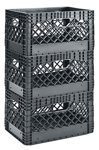"""Muscle Rack 24 Quart 3 Pack Gray Heavy Duty Rectangular Stackable Dairy Milk Crates, 11"""" Height, 19"""" Width (PMC24QTGT-03BX)"""