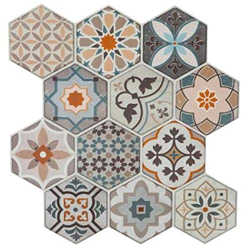 Paris Prix Stick'N Look - Lot de 2 Stickers Carrelage à Motifs Hexa 24x24cm Orange