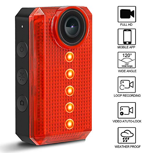 TEENTOK Bike Camera with LED Tail Light, Full HD Rear-View WiFi Bike Light Cam, USB Rechargeable Bicycle Rear Cycling Flashlight, 6 Light Mode Options