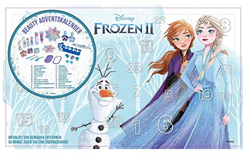 Disney Frozen II Beauty Adventskalender 2020 mit 24 besonderen Accessoires- und Kinderkosmetik- Überraschungen im süßen Eiskönigin-Design, für Haare, Nägel, Augen & Lippen