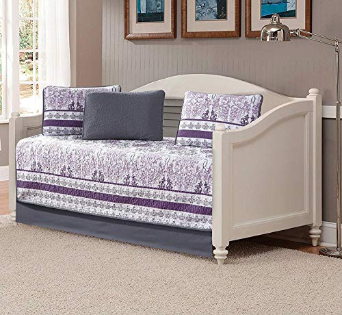 Luxury Home Collection 5 Piece Daybed Quilted Reversible Coverlet Bedspread Set Floral Printed Lavender Purple White Gray