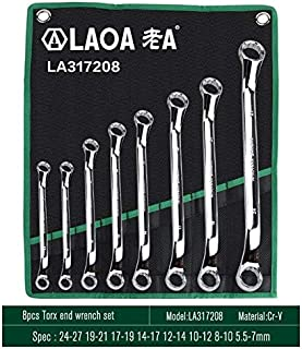 Wrench - Combination Wrench Set with Bag Open End Spline End Tools Kit for Auto Repair (8pcs Spline End)