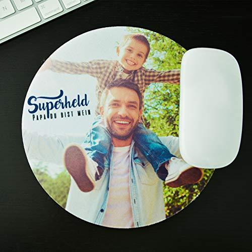Isonio Mauspad mit eigenem Foto - Mouspad selbst gestalten und bedrucken lassen (rund, 19cm Durchmesser)
