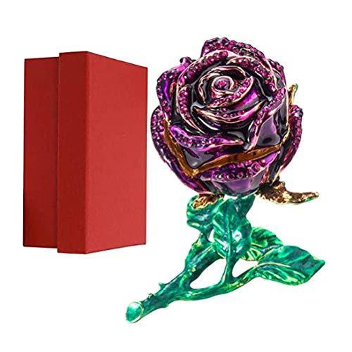 Fovor Caja magnética para anillos de San Valentín, regalo de boda, caja de joyería de aleación 3D