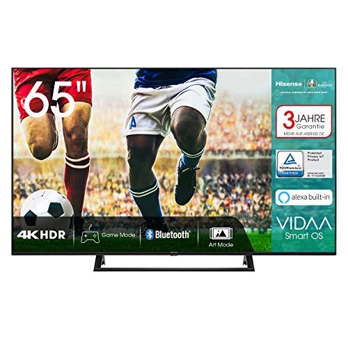 Hisense 65AE7200F 164cm (65 Zoll) Fernseher (4K Ultra HD, HDR, Triple Tuner DVB-C/S/S2/T/T2, Smart-TV, Mittelstandfuß, Frameless, Bluetooth, Alexa, 3 Jahre Garantie)