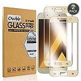 Owbb [2 Pezzi] Gold Vetro Temperato Pellicola per Samsung Galaxy A5 (2017 Version, 5.2 Pollici) Full Coverage Protettiva Protezione 9H Durezza 99% Alta Trasparente
