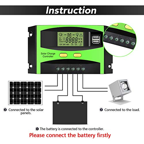 MOHOO Solar Charge Controller, 30A Solar Charger Controller, 12V/24V Solar Panel Intelligent Regulator with Dual USB Port and PWM LCD Display (Upgraded)