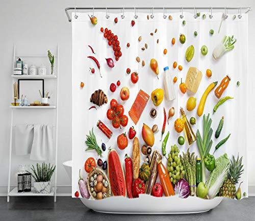 Bunte Herbsternte von Obst & Gemüse 12 Haken für Duschvorhang wasserdichtes Badezimmerdekor