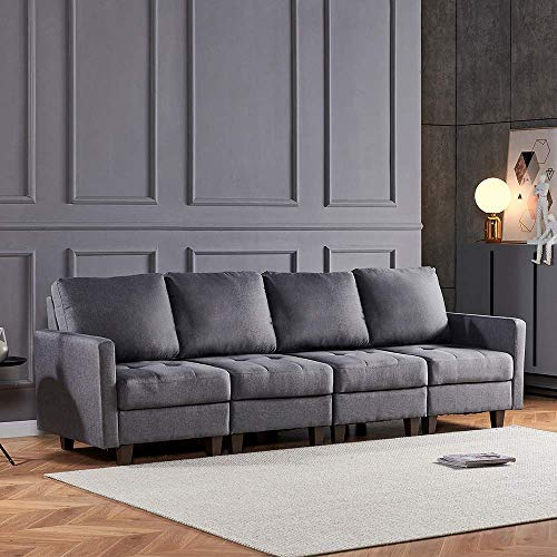 DAKEUR Sofá de Esquina Retro Fabir Gris de 4 plazas Sofá Sofá de Ocio Sillón Sofá tapizado Junto a la Chimenea Sofá para Sala de Estar Oficina en casa