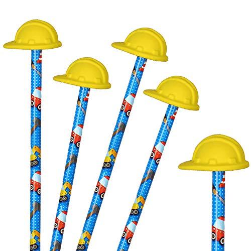 Neu: 4 Bleistifte * Baustelle * mit Radiergummi für Schule und Kindergarten | Stift Zeichnen Schreiben Kind Bauarbeiter Helm Bagger Radlader