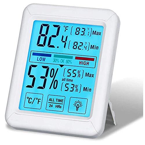 LYDUL Touchscreen met achtergrondverlichting, temperatuur vochtigheid, digitale thermometer en hygrometer, grootbeeld-touch-elektronische temperatuur en vochtigheidsmeter