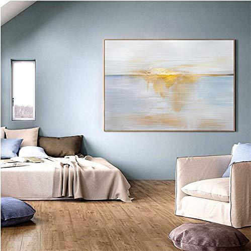 Geiqianjiumai pure abstracte kunst wit en goudfolie olieverfschilderij abstract hoogwaardig wit en goud olieverfschilderij frameloos schilderij