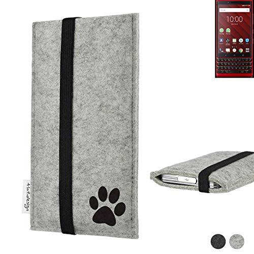flat.design Handy Hülle Coimbra für BlackBerry KEY2 Red Edition individualsierbare Handytasche Filz Tasche fair H& Pfote tatze